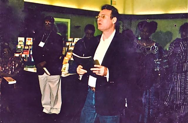 Emmanuel Obieachina, KT, Tess Onwueme.   African Literature Association, 28th Annual Conference.  U of Calif., San Diego, Ca. 2002.